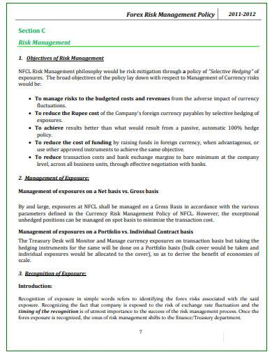 forex risk management policy template