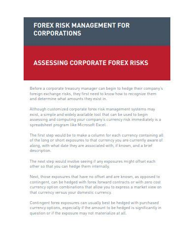 forex risk management for corporations