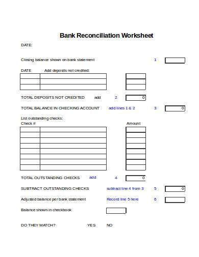formal bank reconciliation worksheet