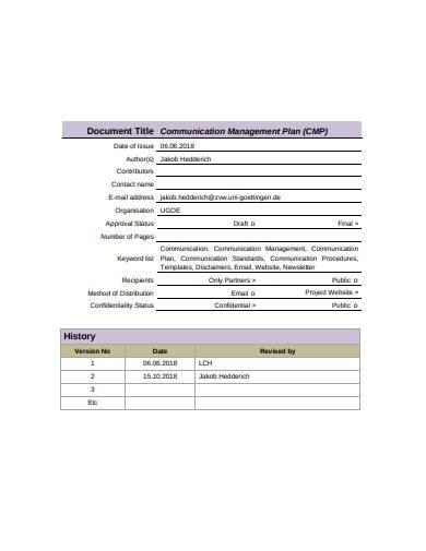 formal communication management plan sample