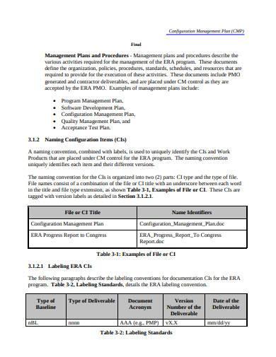 formal configuration management plan sample