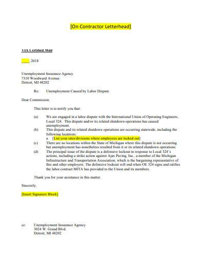 formal contractor letterhead