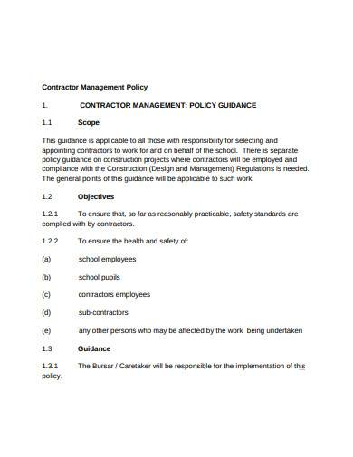 formal contractor management policy template