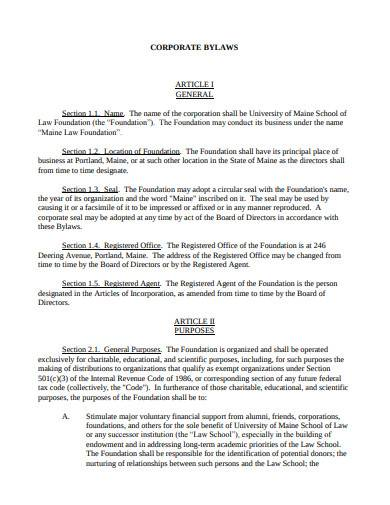 formal corporate bylaws