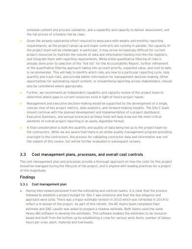 formal cost management plan template