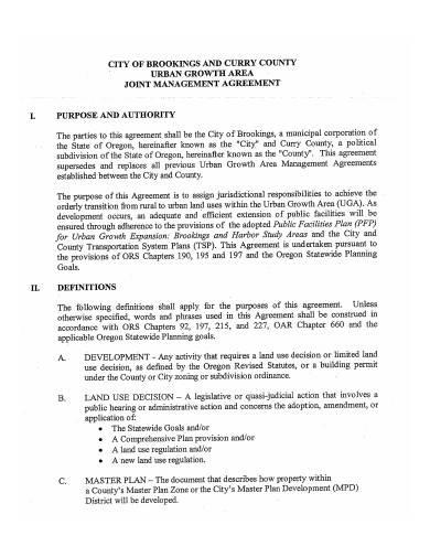 formal joint management agreement sample