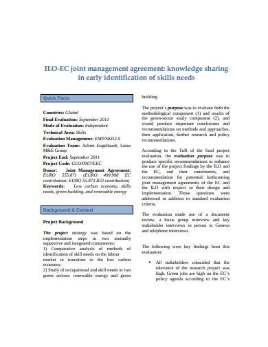 formal joint management agreement template
