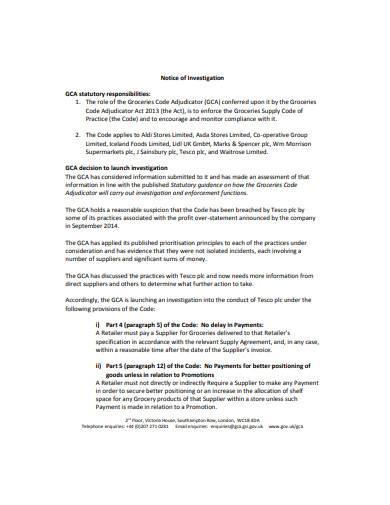 formal notice of investigation sample