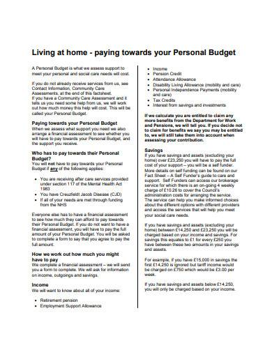 formal personal budget template