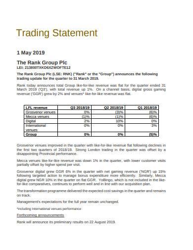 formal trading statement