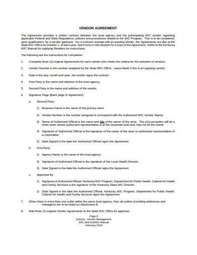 formal vendor management agreement sample