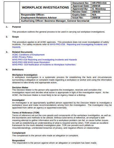 formal workplace investigation sample