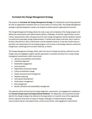 formulate the change management strategy