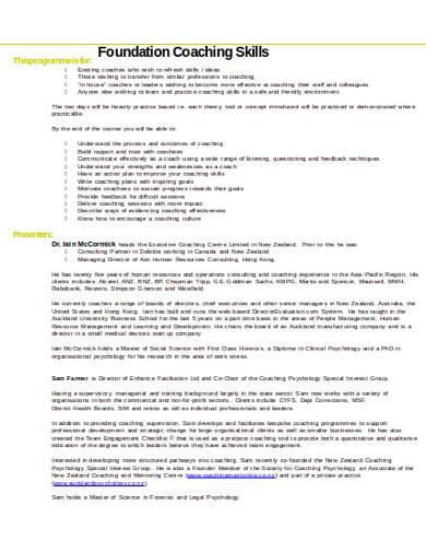foundation coaching skills checklist