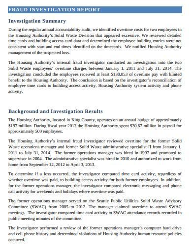 fraud investigation report summary template