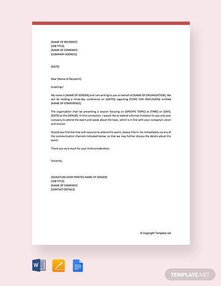 Free 38  Invitation Letter Templates In Pdf