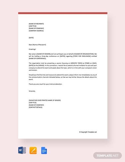 free formal invitation letter