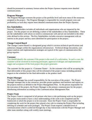 general communication management plan template