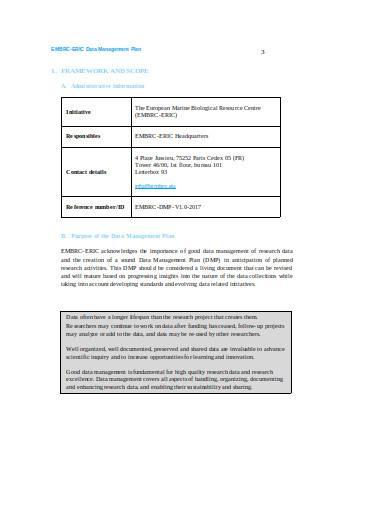 general data management plan sample