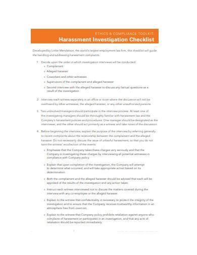 general harassment investigation checklist template