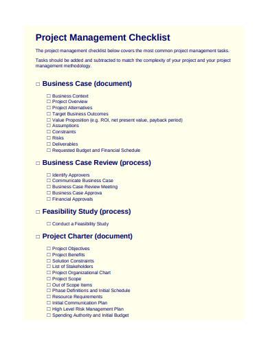 general project management checklist template1