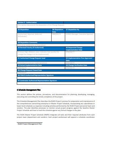 general schedule management plan template