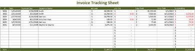 green tracking sheet sample for invoices