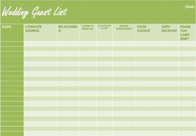 green wedding guest list sample