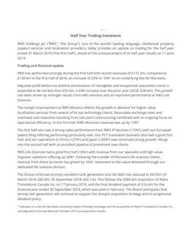half year trading statement