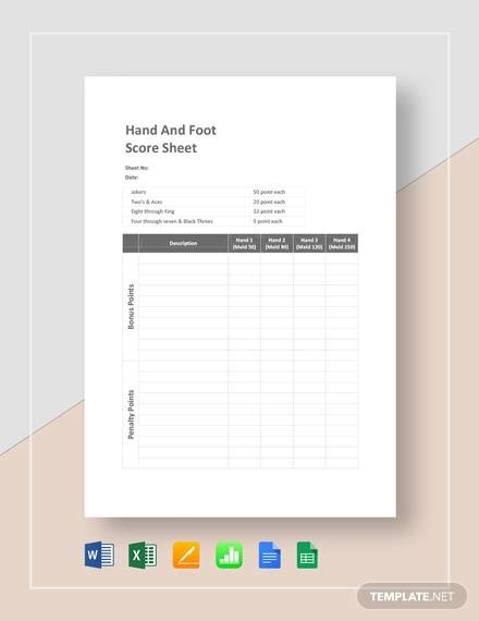 hand and foot score sheet template