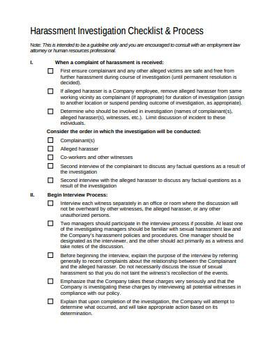 harassment investigation checklist and process sample