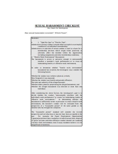 harassment investigation checklist in doc
