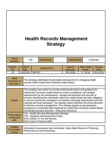 health records management strategy template