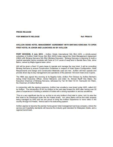 hotel management agreement example