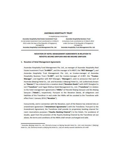 hotel management agreement template