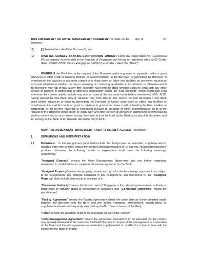 hotel management agreement in doc