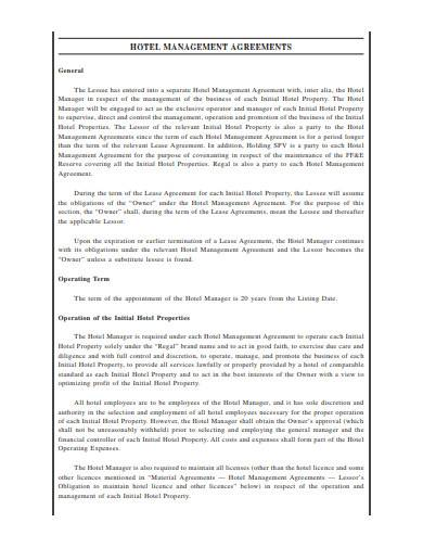 hotel management agreement in pdf