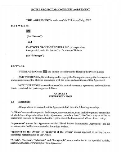 hotel project management agreement sample