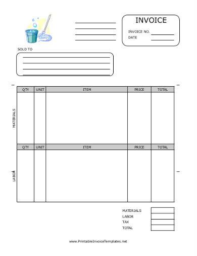 housekeeping service rental invoice sample