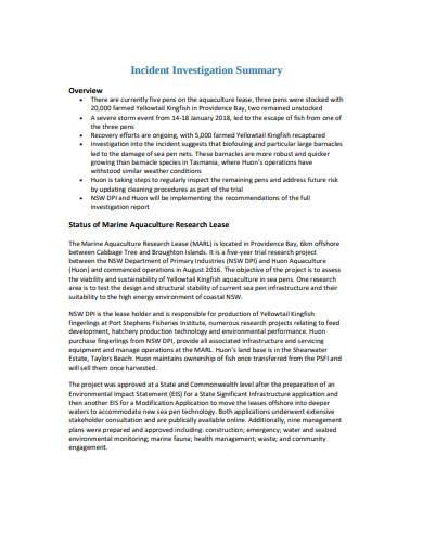 incident investigation summary example