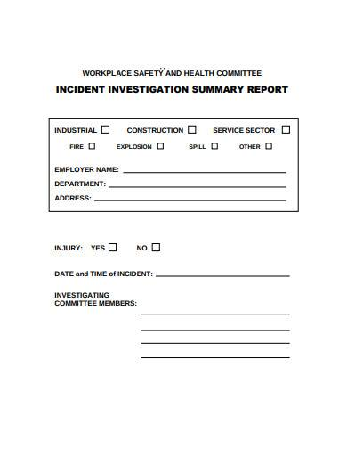 incident investigation summary report example