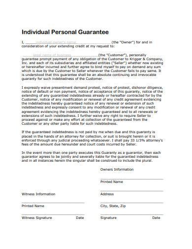 individual personal guarantee