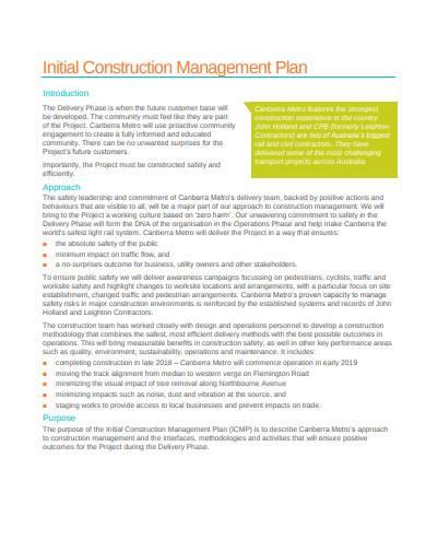 initial construction management plan