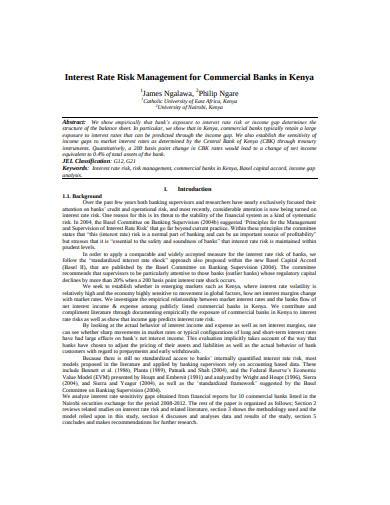 interest rate risk management for commercial banks