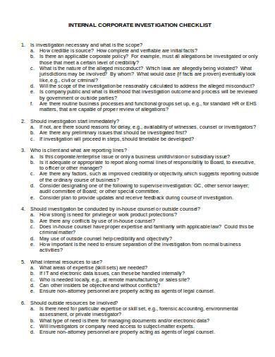 internal corporate investigation checklist