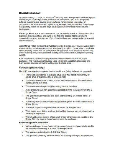 investigation exclusive summary template