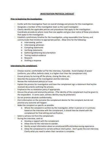investigation protocol checklist
