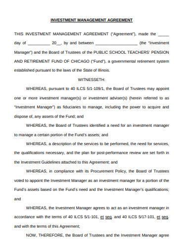 investment fund management agreement1