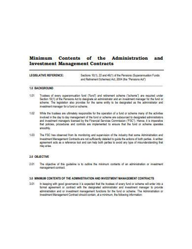investment management contract example