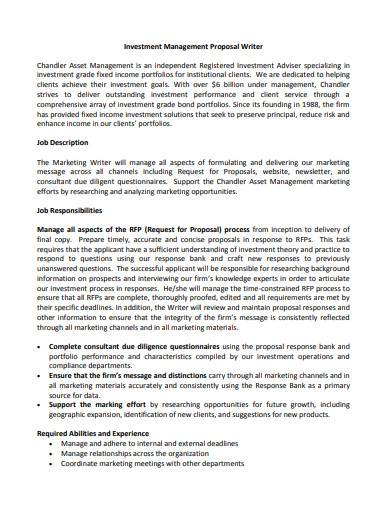 investment management proposal writer